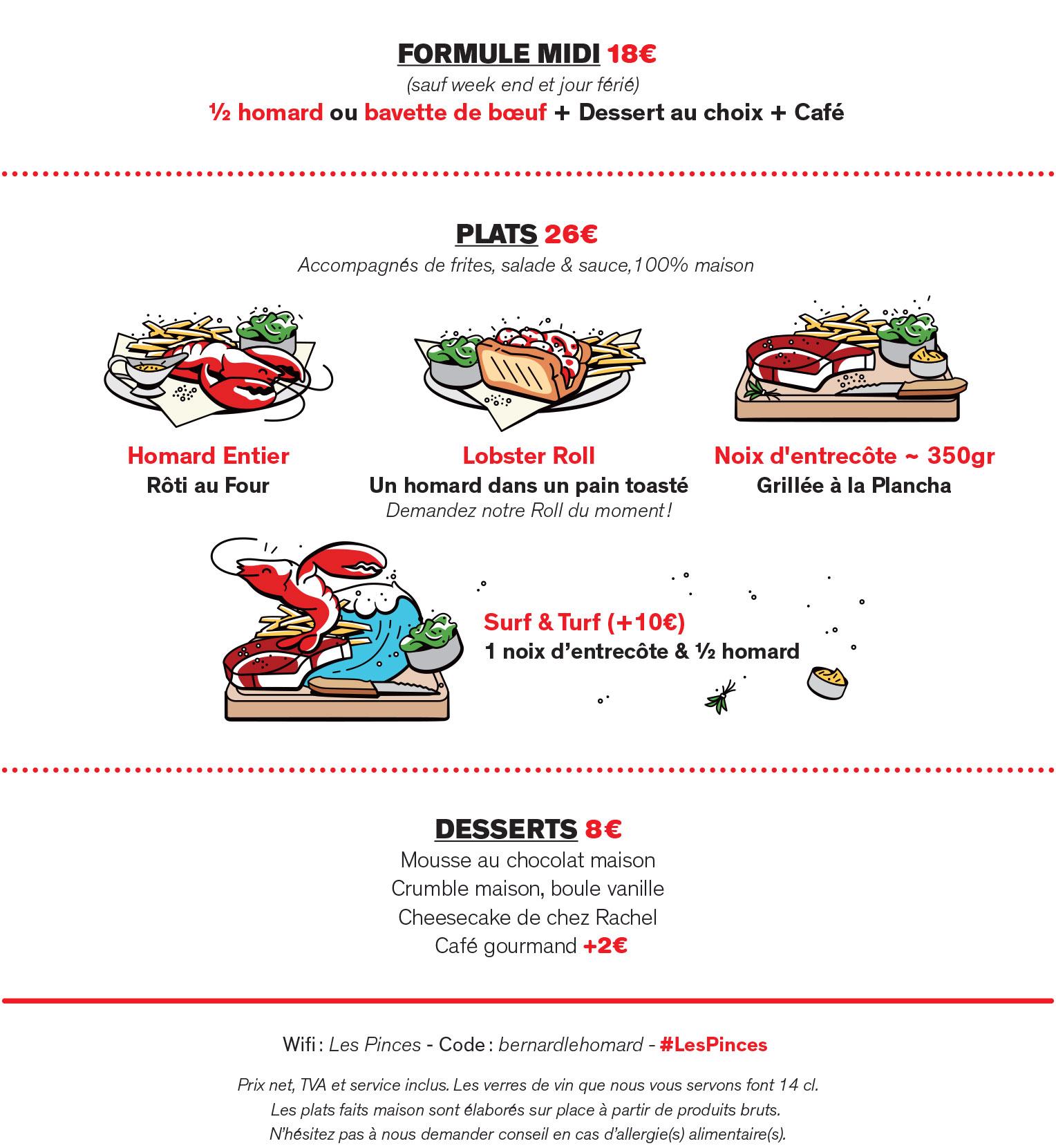 menu les pinces pigalle restaurant de homard paris. Black Bedroom Furniture Sets. Home Design Ideas